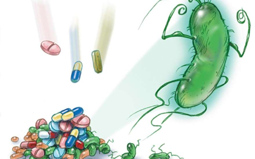 Бактерия и таблетки