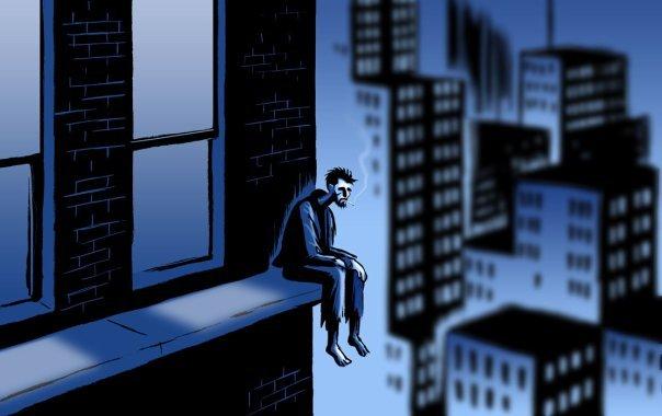 Человек сидит на окне