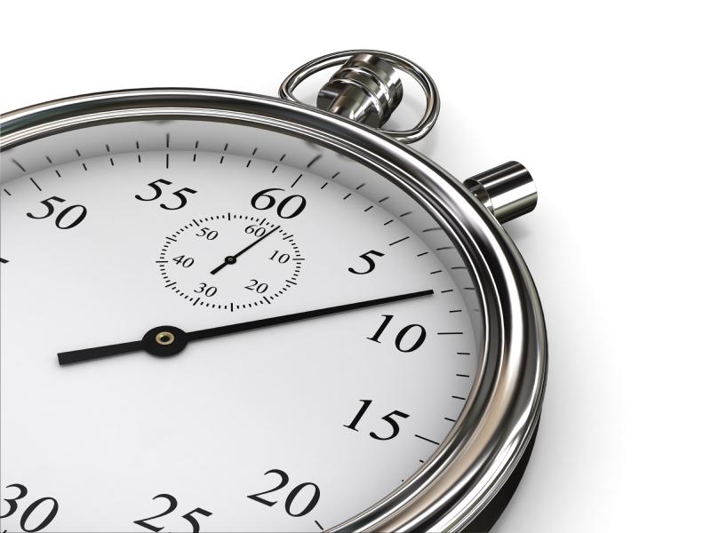 Время на секундомере