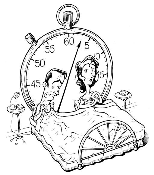 Пара в постели и часы