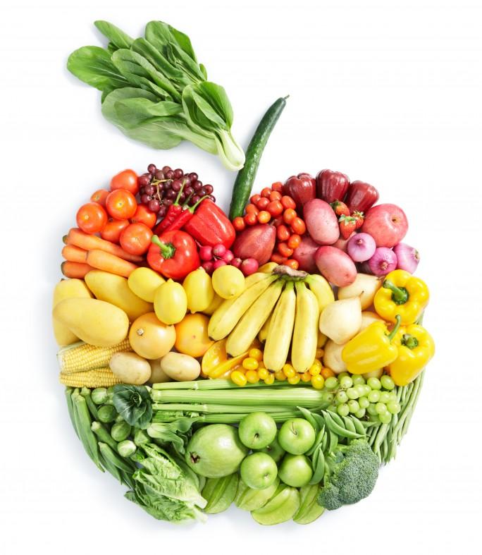 Фрукты и овощи в форме яблока